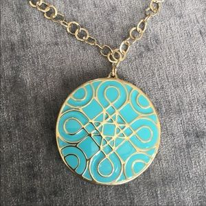 Long Necklace With Turquoise Colored Pendant